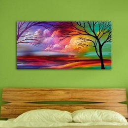 $enCountryForm.capitalKeyWord Australia - New Hand Painted Tree Oil Paintings On Canvas Colorful Art Paintings For Home Wall Decor