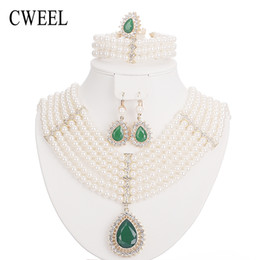 jade dresses UK - CWEEL Jewelry Sets For Women Wedding Dress Accessories Gold Color Imitated Crystal Necklace Set African Beads Earrings Pendant
