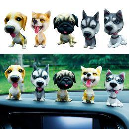 Resin Cute Dog Doll Husky Doll Car Nodding Dog Shake Head Decoration Ornament Bobblehead Dog Car Styling on Sale