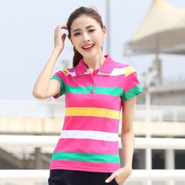Femmes À Manches Courtes Pas Cher-2017 New Fashion Casual Stripe Polo en polaire Marque Summer Short Sleeve Loose Top Tee Shirt