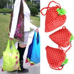 Nylon Folding Tote Shopping Bag Canada - 200PCS Random Color Cute Strawberry Shopping Bags Foldable Tote Eco Reusable Storage Handbag Nylon Free shipping