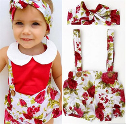 Barato 2t Girl Suspender-2017 Girls Baby Suspender Shorts Pants Summer Floral Print Baby Jumpsuits Vestuário Cute Toddler Rompers Infant Clothes With Headbands