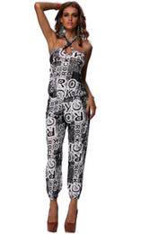 Modèle Capris Femme Pas Cher-New Geometric Womens Jumpsuits Rompers Robe en robe sans bretelles Pantalon Middle Capris Backless Playsuits Caual Summer Letter pattern