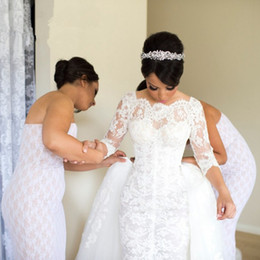 simple african wedding dresses 2019 - 2017 Vintage Romantic 3 4 Sleeve Lace Mermaid African Wedding Dresses With Overskirts Long Train Custom Made Bridal Gown