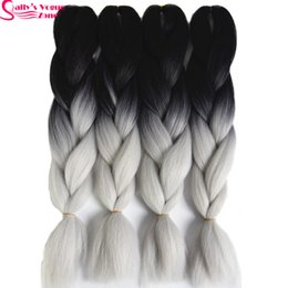 Black silver ombre hair extensions suppliers best black silver wholesale high temperature fiber synthetic hair extension ombre braiding hair 2 tone black silver grey pmusecretfo Image collections