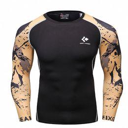 T Shirt Digital Printing Sport Australia - Men sports PRO long sleeved T-shirt fitness rasgard yoga sport clothes digital printing sweat quick drying shirt Rashgard