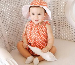 Discount angel wing baby clothes - 2017 Summer Infant Baby Set Boys Girls Cotton Strap Dots Rompers Angel Wings Kids Overalls + Hat 2pcs Clothing Suit Chil