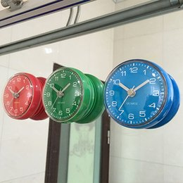 Wholesale Free Shipping Waterproof Clock Shower Clocks Mini Wall Bathroom Suction On Mirror Blue Green Red For Selection