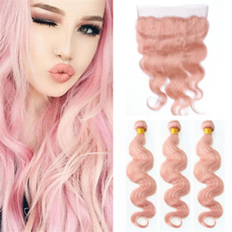 Colorful Human Hair Australia - Colorful Pink Virgin Hair Bundles With Lace Frontal Closure Peruvian Pink Body Wave Human Hair Weaves With 13*4 Lace Frontal