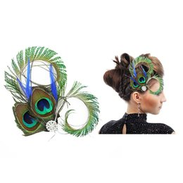 Barato Fascinador De Pena Vintage-5 Pcs Vintage Peacock Feather Fascinator Wedding Hair Clip Bridal Dance Party Hair Acessórios para jóias para mulheres