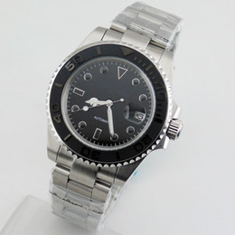 29 brush UK - 2136-N Bliger 40mm Sapphire Brushed Black Dial Ceramic Bezel Automatic Men Watch