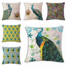 Green Office Chairs Canada - vintage peacock decoration for home office salon feather cushion cover for bar chair sofa couch elegant almofada pillowcase
