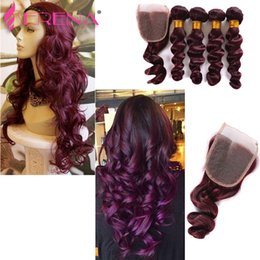 full lace human hair red 2019 - New Fashion! Burgundy 99j Lace Closure 10-30inch 130 Density Brazilian Wavy 99j Full Wine Red Human Hair Extensions Weft