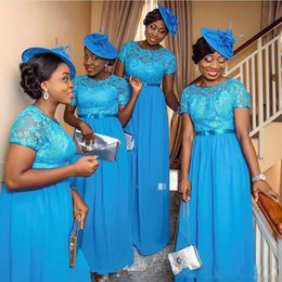 AfricAn dresses sAle online shopping - Hot Sale Nigerian African Bridesmaid Dresses Blue Lace Short Sleeves Plus Size Wedding Guest Party Maid Of Honor Gowns Cheap