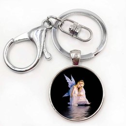 Wholesale High Quality Angel wings Photo DIY Silver Keychain Gift For Women Baby Wings Key Chain