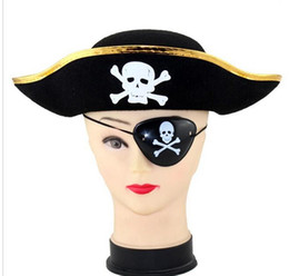 Fancy hats boys online shopping - Pirate Captain Hat and eye patch Skull Crossbone Cap Costume Fancy Dress Party Halloween prop hats