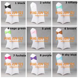 $enCountryForm.capitalKeyWord Canada - 100pcs White Spandex Chair Cover + 100pcs Lycra Band \ Spandex Chair Sash With Buckle For Wedding Decoration