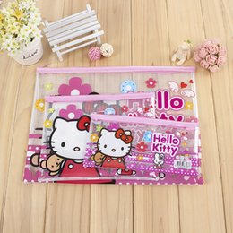 School File Holder NZ - Hello Kitty Document File Bag Holder Storage Case Cosmetic Makeup Bag Student Stationery School Supplies Pen Bag Container