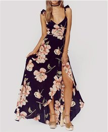 Robe Longue Décontractée Bohème D'été Pas Cher-Fashion Summer Floral Print Dress Femme Backless Split Long Robes Maxi Deep V-neck Sexy Party Robes Casual Bohemian Dresses