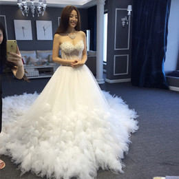 Discount modern wedding gowns long tail - Strapless Crystals Ball Gowns Long Tail Princess Palace Slim Minimalist Luxury Train Wedding Gowns with Hand Made Flower