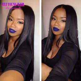 "$enCountryForm.capitalKeyWord NZ - Best Quality 7A Silky Straight Virgin Brazilian U Part Human Hair Wigs 2x4"" Middle Part U Part Wig For Black Women Free Shipping"