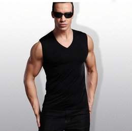 d0387e3cea40f Men s Tank Top Fashion summer style Sleeveless Undershirts Male  Bodybuilding Tank Top Casual Modal Vest V-collar Ice silk without trace vest