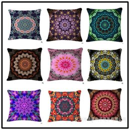 bohemian cushion covers NZ - Bohemian Style Mandala Pillows Cases Plant Flower Cushion Covers Flax Pillow Case No Core Cushions Cover For Sofa Home Decoration 6 5bh R