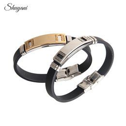 Name Plate Jewelry Sets Australia - DIY Customized Bracelets For Women Men Jewelry Rubber Stainless Steel Engrave Personalized Name ID Bracelets&Bangles Pulseiras