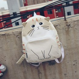 $enCountryForm.capitalKeyWord Canada - New Women Canvas Backpack Lovely Cat Printing Backpack Cute Cartoon Cat Printing Backpack School Bag For Teenage Girls Mochila