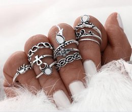Beach Rings NZ - 10pcs set flower mid rings sets for women silver color boho beach vintage turkish punk elephant knuckle ring