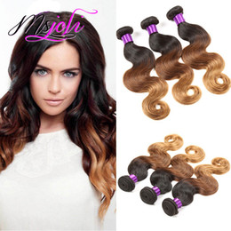 ombre hair extensions 22 inch NZ - 9A Ombre Color Three Tones Body Wave Brazilian Virgin Human Hair Unprocessed Hair Extension Weft Three Pcs T1b-4-30