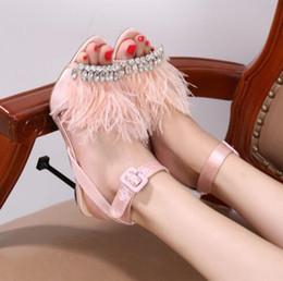 $enCountryForm.capitalKeyWord Canada - Summer diamond wedding shoes sandals feather Princess Heels Sandals sexy sandals shoes summer fine diamond high heel solid pink