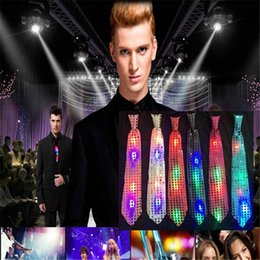 Lighting Tie Canada - LED Tie New Fashion Light Up Luminous Sequin Neck Ties Mens Changeable Colors Necktie Led Fiber Tie Flashing Tie for Women DHL Free