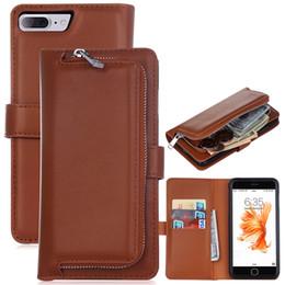 Опт Кожаный чехол-кошелек для iPhone 7 Plus 2 в 1 Магнитный съемный съемный флип-чехол Слот для карт памяти для iPhone 8 Plus