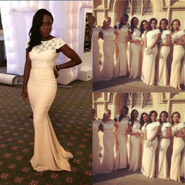 Robes De Mariée En Satin À Manches Courtes Pas Cher-African Traditional 2017 Jewel Neck Lace Chiffon Mermaid Robes de demoiselle d'honneur Manches courtes Maid Of Honor Robes pour mariage Plus Size Gowns