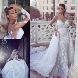 $enCountryForm.capitalKeyWord Canada - 2017 Luxury Lace Detachable Train Mermaid Wedding Dresses With Sheer Neck Long Sleeves Bridal Gowns Appliques Back Buttons Vestidos