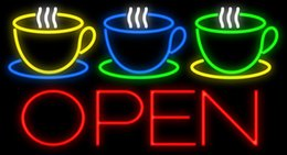"neon open sign white Australia - Coffee Cups Open Neon Sign Handcrafted Custom Real Glass Tube Bar Restaurants Bakeries Pastry Store Advertising Display Neon Signs 37""X20"""