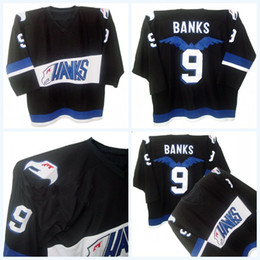 Negro 5xl Baratos-Mighty Ducks Movie Jersey Hawks Adán Banks # 9 Hombres 100% cosido Logos Bordado Logos Jerseys de hockey negro