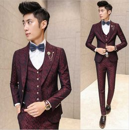 Discount korea fashion men pants - Wholesale- New Fashion Hot Brand 2016 men's fashion casual high quality jacquard weave suit male slim korea style b