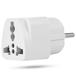 China 1pcs Universal EU Plug Travel Wall AC Power Adapter Charger Outlet Socket Converter 2-foot Round Input Pin Hot HIGH QUALITY +B cheap universal socket outlet adapter suppliers