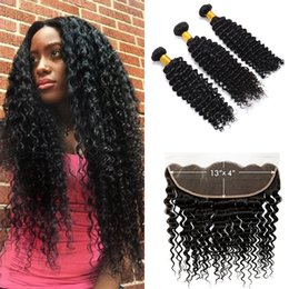 $enCountryForm.capitalKeyWord NZ - Human Hair Extensions Weft Malaysian Deep Wave Curly 3 Bundles With 13 X 4 Lace Frontal Hair Weaves Hair Bundles With Frontal Closure