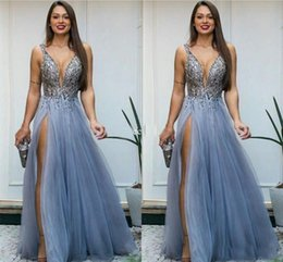 Barato Longo Vestido De Cetim De Cristal Vestidos-Bead Sequins Cristais Evening Gown Sexy Formal Longo A-line Deep V Neck Side Split Tulle Backless Party Prom Dresses vestidos festa