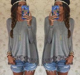 Irregular hem tops online shopping - Gamiss New Fashion Autumn Tops Solid Color Casual Stitching Lace Grey Long Sleeved Irregular Hem T shirt Free Shipment