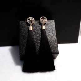 Chinese  New Fashion Brand Camellia Earrings Exaggerated Vintage Rhinestone Crystal Long Tassels Dangle Earrings For Women Accessories manufacturers