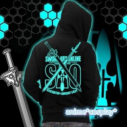 Chaqueta Con Cremallera Baratos-Al por mayor-Anime Sword Art en línea Kirito Luminous ZIP Jacket Glow en sudaderas con capucha Dark Sweatershirt Coat