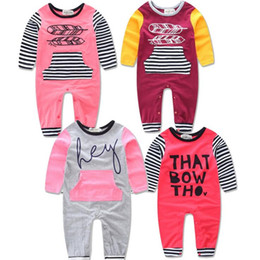fashioned baby clothes 2019 - Baby Ins Onesies Stripe Romper Infant Print Letter Jumpsuits Cotton Long Sleeve Bodysuit Fashion INS Romper Attumn Baby