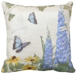 """$enCountryForm.capitalKeyWord Canada - Throw Pillow Case, French Farm Vintage Delphinium Butterfly Script Square Sofa and Car Cushions Cover, """"16inch 18inch 20inch"""", Pack of X"""