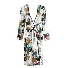 $enCountryForm.capitalKeyWord UK - Floral print chiffon kimono blouses shirt women split kimono japanese long cardigan Summer bohemian beach belt sashes casual kimono new