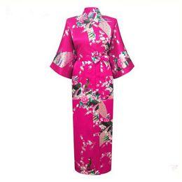 5a6e98c89f5 plus size japanese kimonos 2019 - Wholesale- Hot Pink Japanese Flower Kimono  Dress Gown Sexy