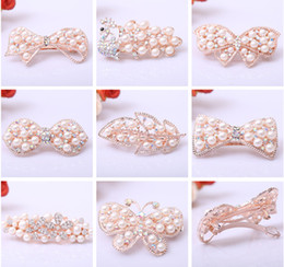 $enCountryForm.capitalKeyWord NZ - Bridal Crystal Pearl Hairclips Pearl Rose Golden Rhinestone Bowknot Butterfly Peacock Leaf Hair Clip Women Wedding Party Jewelry Accessories